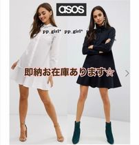 ASOS Short Casual Style Flared Long Sleeves Plain Cotton Dresses