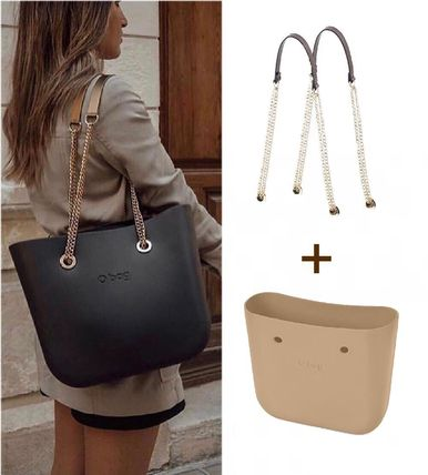 Casual Style A4 Chain Plain Totes