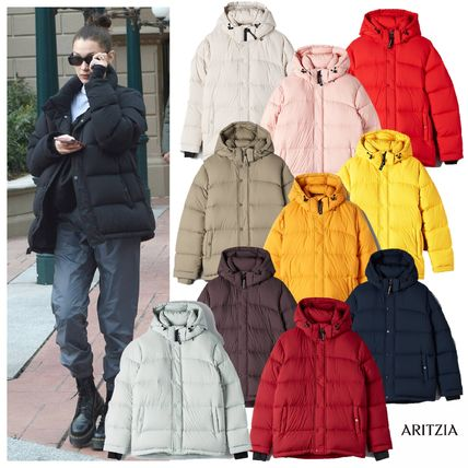 Nylon Street Style Plain Medium Bold Logo Down Jackets