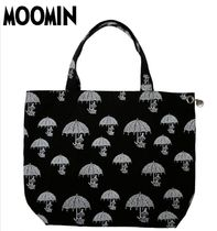 Moomin Casual Style Canvas A4 Other Animal Patterns Totes