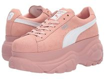 PUMA SUEDE Platform Round Toe Lace-up Casual Style Street Style Plain