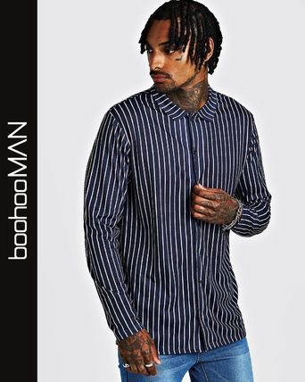 boohoo Shirts Stripes Street Style Long Sleeves Shirts
