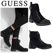 Guess Casual Style Street Style Plain Chunky Heels Boots Boots
