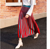 Flared Skirts Stripes Casual Style Pleated Skirts Bi-color