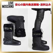 Love Moschino Round Toe Rubber Sole Casual Style Faux Fur Plain
