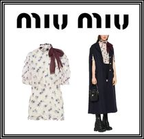 MiuMiu Flower Patterns Dots Casual Style Nylon Puffed Sleeves