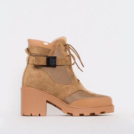 Platform Lace-up Casual Style Suede Street Style Block Heels