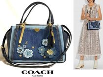 Coach DREAMER Flower Patterns Casual Style Studded 2WAY Plain Leather