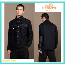 HERMES Cashmere Long Sleeves Leather Oversized Shirts