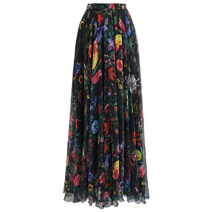 Flower Patterns Tropical Patterns Maxi Long Elegant Style