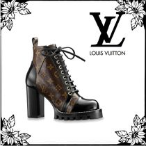 Louis Vuitton MONOGRAM Monogram Plain Toe Lace-up Blended Fabrics Bi-color Leather