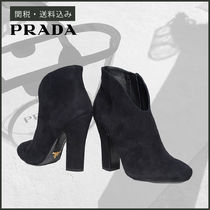 PRADA Round Toe Casual Style Plain Leather Block Heels