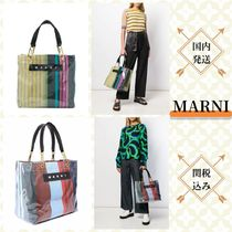MARNI Stripes Casual Style Blended Fabrics PVC Clothing Logo Totes
