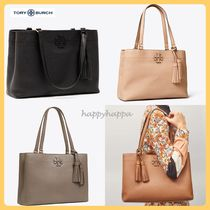 Tory Burch MCGRAW Bag in Bag A4 Plain Leather Office Style Totes