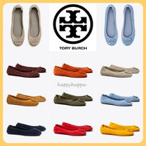 Tory Burch Round Toe Suede Plain Leather Flats