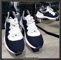CHANEL SPORTS Plain Toe Rubber Sole Lace-up Casual Style Suede