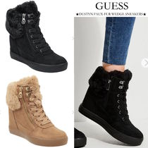 Guess Wedge Lace-up Casual Style Faux Fur Street Style