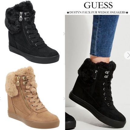 Wedge Lace-up Casual Style Faux Fur Street Style