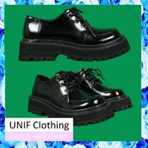 UNIF Clothing Platform Round Toe Casual Style Plain Leather
