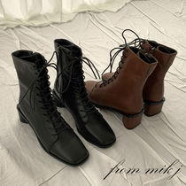 Square Toe Lace-up Casual Style Faux Fur Street Style Plain
