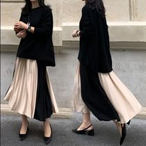Pleated Skirts Bi-color Long Office Style Maxi Skirts