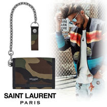Saint Laurent Camouflage Street Style Chain Leather Folding Wallets