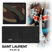 Saint Laurent Camouflage Street Style Leather Folding Wallets