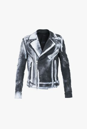 Short Leather Logo Asymmetry Biker Jackets