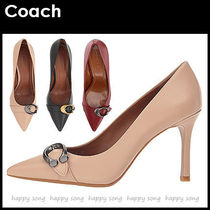 Coach Plain Leather Pin Heels Elegant Style