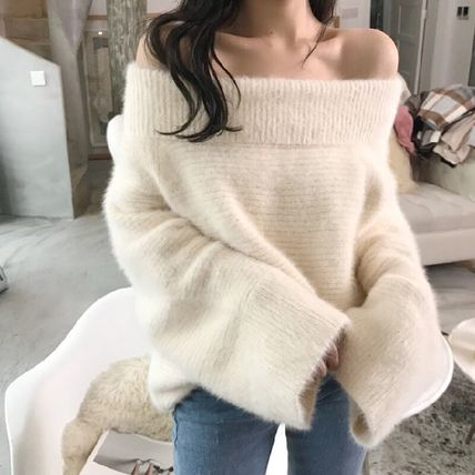Cable Knit Short Casual Style Wool Velvet Street Style