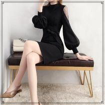 Tight Long Sleeves Plain Medium Party Style High-Neck Lace