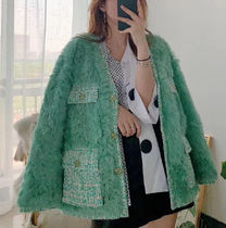 Stand Collar Coats Short Tweed Fur Blended Fabrics Bi-color