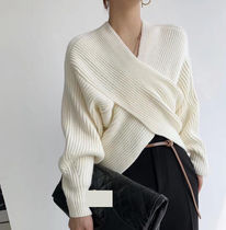 Cable Knit Casual Style Wool Rib Street Style V-Neck