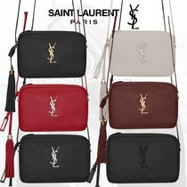 Saint Laurent LOU Monogram Casual Style Lambskin Tassel Leather Party Style