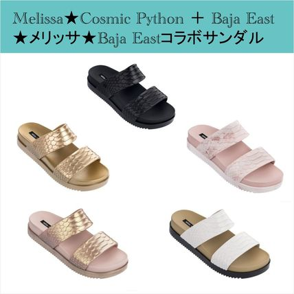 Open Toe Casual Style Faux Fur Collaboration Footbed Sandals