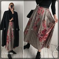 Flower Patterns Casual Style Pleated Skirts Long Oversized