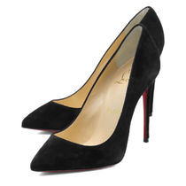 Christian Louboutin Pigalle Follies Suede Plain Leather Pin Heels Pointed Toe Pumps & Mules