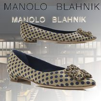 Manolo Blahnik Dots Casual Style Block Heels Party Style With Jewels