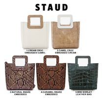 STAUD Casual Style Plain Leather Shoulder Bags