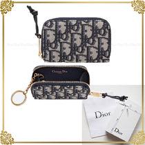 Christian Dior Plain Leather Small Wallet Card Holders