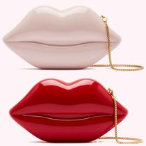 Lulu Guinness 2WAY Chain Plain Party Style Crossbody Logo Clutches
