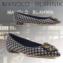 Manolo Blahnik Dots Casual Style Block Heels With Jewels Elegant Style