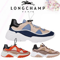 Longchamp Casual Style Blended Fabrics Plain Leather Low-Top Sneakers
