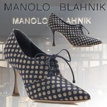 Manolo Blahnik Dots Casual Style Blended Fabrics Leather Pin Heels