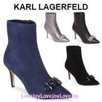 Karl Lagerfeld Suede Plain Leather Pin Heels With Jewels Elegant Style