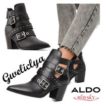 ALDO Cowboy Boots Casual Style Plain Leather Block Heels