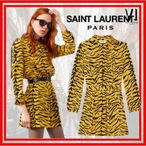 Saint Laurent Long Sleeves Other Animal Patterns Medium Dresses
