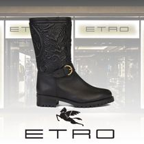 ETRO Paisley Casual Style Leather Block Heels Mid Heel Boots