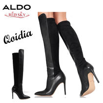 ALDO Casual Style Plain Leather Pin Heels Elegant Style