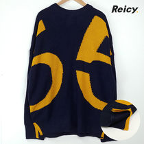Crew Neck Cable Knit Street Style Long Sleeves Plain